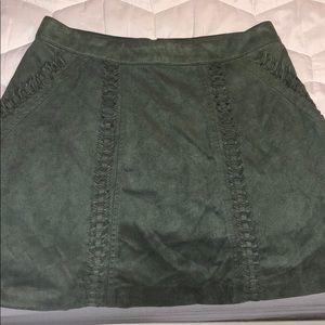 Gianni Bini army green felt skirt